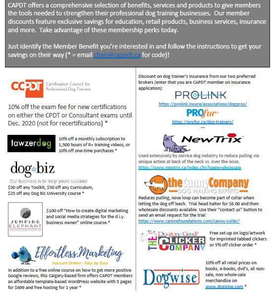 Dog trainers member benefits list