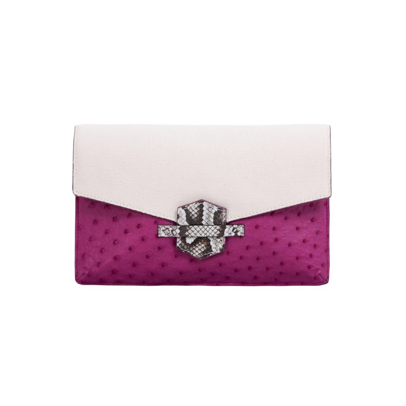 Ivy in Orchid Ostrich & Canvas with Python Trim 1