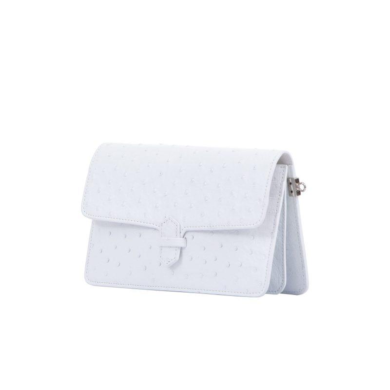 Accordion Crossbody Wallet in White Ostrich 2