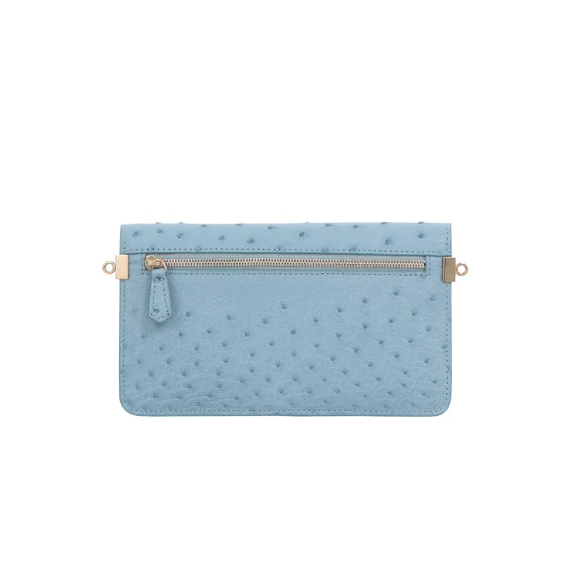 Accordion Crossbody Wallet in Sapphire Ostrich 4