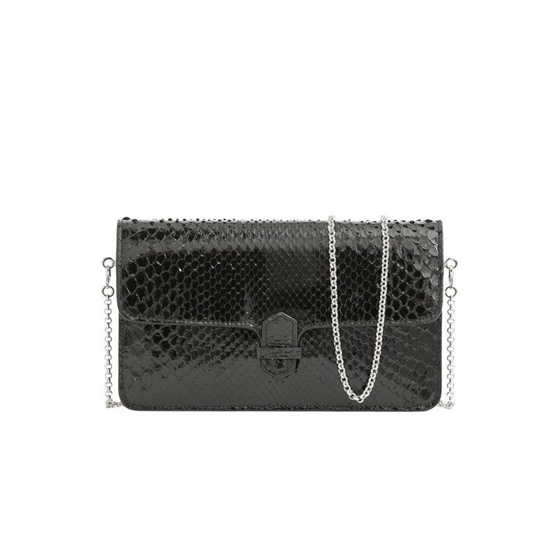 Accordion Crossbody Wallet in Black Python 1