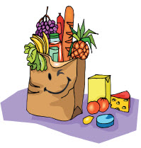 Illustration of a grocery bag full of food