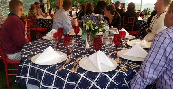 table setting for catered outdoor dinner