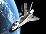 O Space Shutlle em trabalhos de conservação do telescópio espacial Hubble colocado em órbita pela NASA em 1990