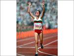 Rosa Mota, medalha de ouro na Maratona, nos Jogos Olímpicos de Seul (1988)