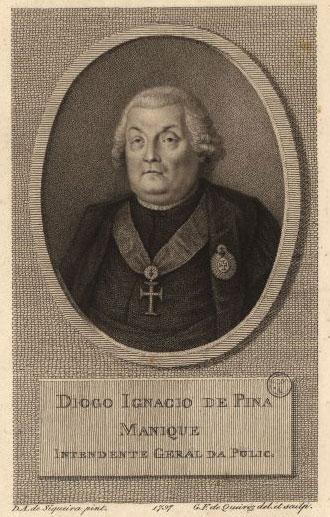 Diogo Inácio de Pina Manique, Intendente-Geral da Polícia entre 1780 e 1805, numa gravura de Domingos Sequeira