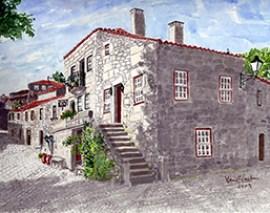 Casa dos Falcões em Sortelha - Pintura de Maria C. Ventura - Capeia Arraiana