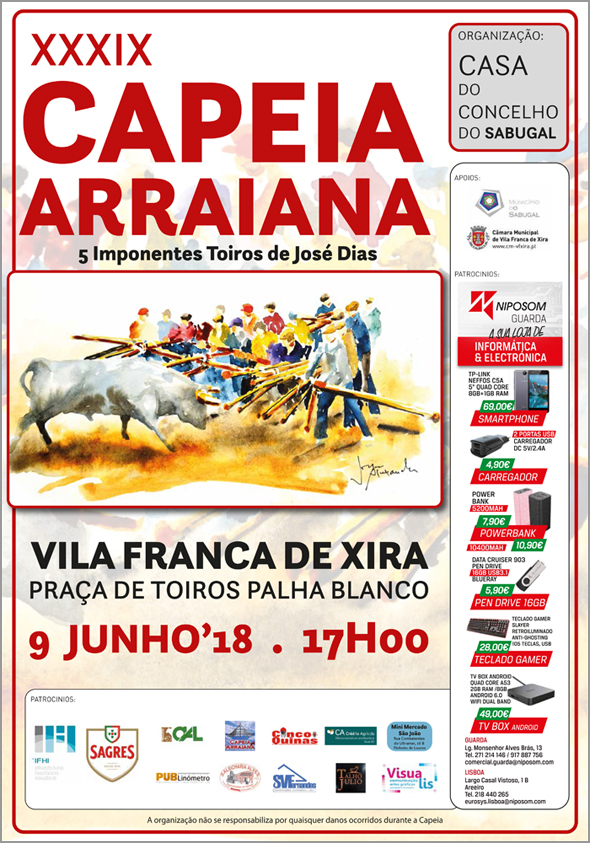 Cartaz da XXXIX Capeia Arraiana da Casa do Concelho do Sabugal - Capeia Arraiana