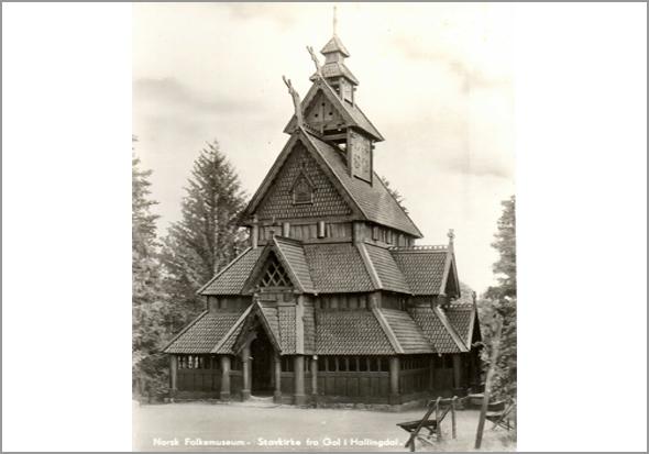 Igreja de madeira no Norsk Folemuseum
