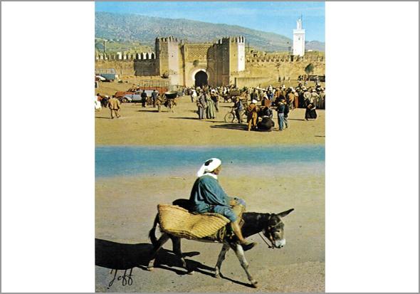 Um homem montando burro que passa em frente à Muralha de Fez