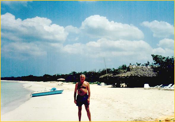 Franklim na praia de Los Flamingos