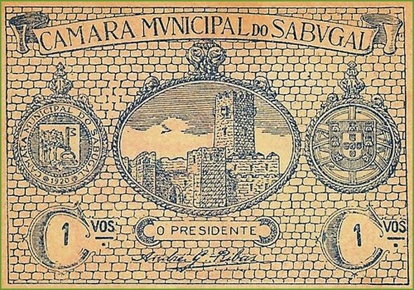 Anverso de uma cédula de1 centavo emitida pela Câmara Municipal do Sabugal, em 1920