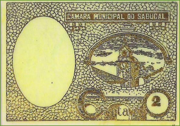 Verso de uma cédula de2 centavos emitida pela Câmara Municipal do Sabugal, em 1920