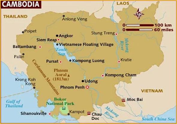 Mapa do Cambodja