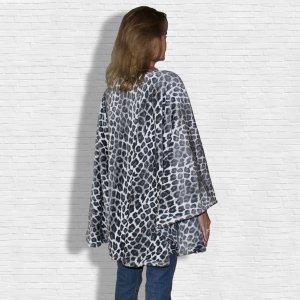 Leopard Fleece Poncho Cape