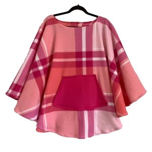 Pink Plaid Fleece Poncho Cape
