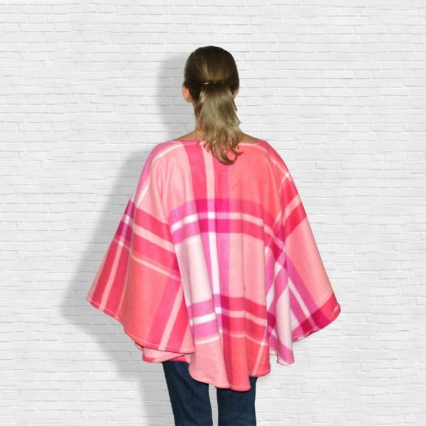 Pink Plaid Fleece Poncho Cape