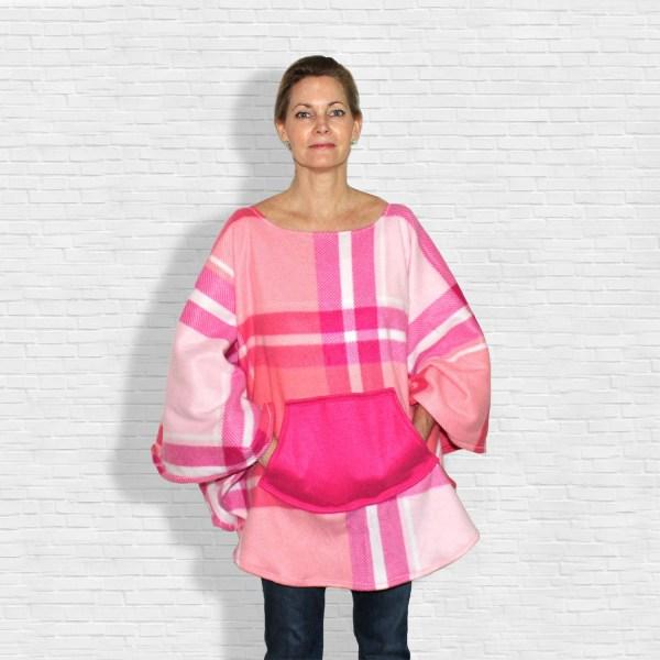 Hospital Gift Women's Pink Fleece Poncho Cape