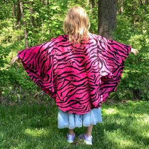Pink Zebra Fleece Poncho Cape