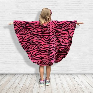 Hospital Gift for Child Fleece Pink Zebra Poncho Cape