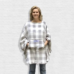 Hospital Gift for Men Women Plaid Fleece Poncho Cape
