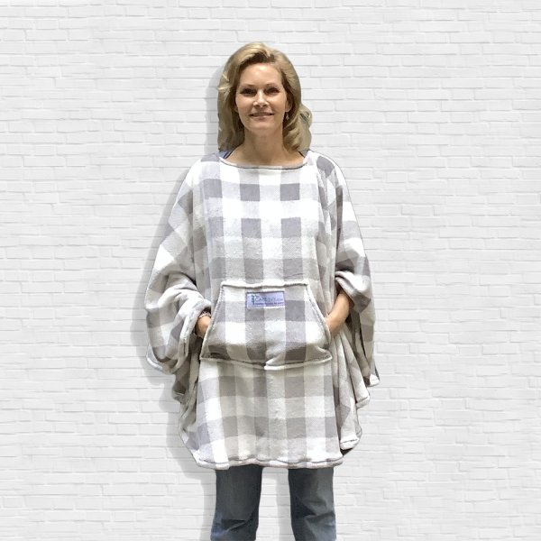 Hospital Gift for Men Women Plaid Fleece Poncho Cape