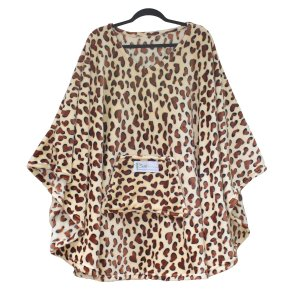 Adult Hospital Cape Ivy Brown Leopard fleece poncho