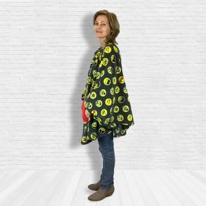 Teen Adult Hospital Gift Fleece Poncho Cape Ivy Emojis on Gray