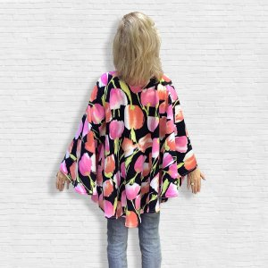 Women's Hospital Gift Fleece Poncho Cape Ivy Pink Peach Tulips