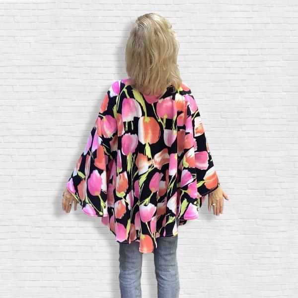 Women's Hospital Gift Fleece Poncho Cape Ivy Pink Peach Tulips