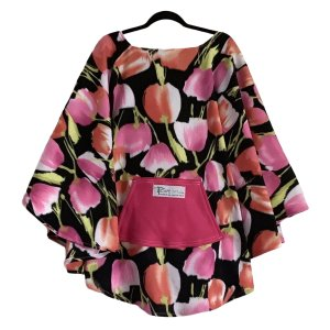 Adult Hospital Gift Fleece Poncho Cape Ivy Pink Peach Tulips