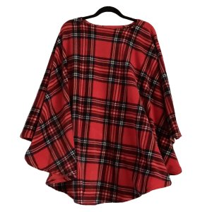 Adult Mens Hospital Gift Fleece Poncho Cape Ivy Red Stewart Plaid