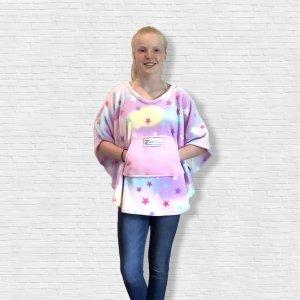 Child Hospital Gift Fleece Poncho Cape Ivy Pastel w Stars