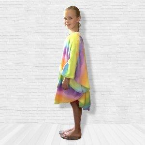 Girl Hospital Gift Fleece Poncho Cape Ivy Rainbow