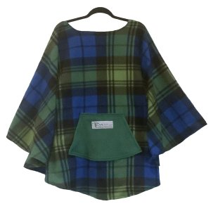 Adult Hospital Gift Fleece Poncho Cape Ivy Blue Green Plaid