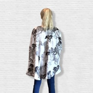 Adult Teen Hospital Gift Fleece Poncho Cape Ivy Horses