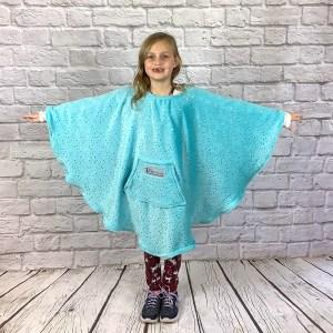 Child Hospital Gift Fleece Poncho Cape Ivy Aqua Twinkle Stars
