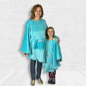 Child and Adult Hospital Gift Fleece Poncho Cape Ivy Aqua Twinkle Stars