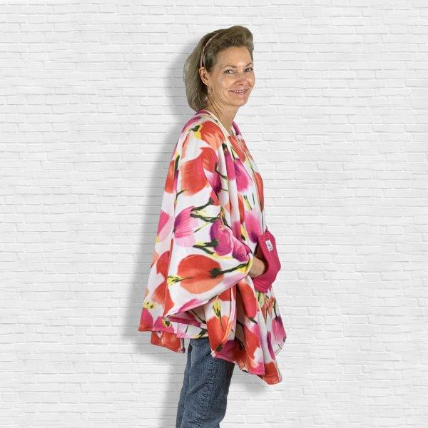 Woman's Hospital Gift Fleece Poncho Cape Ivy Tulips