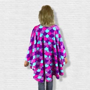 Adult Teen Hospital Gift Fleece Poncho Cape Ivy Purple Mermaid