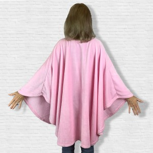 Adult Hospital Gift Fleece Poncho Cape Ivy Pink