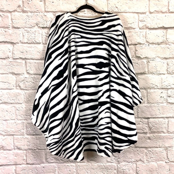 Adult Hospital Gift Fleece Poncho Cape Ivy Zebra