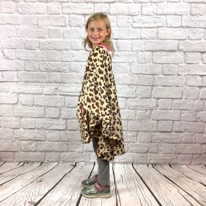 Child Hospital Gift Fleece Poncho Cape Brown Leopard