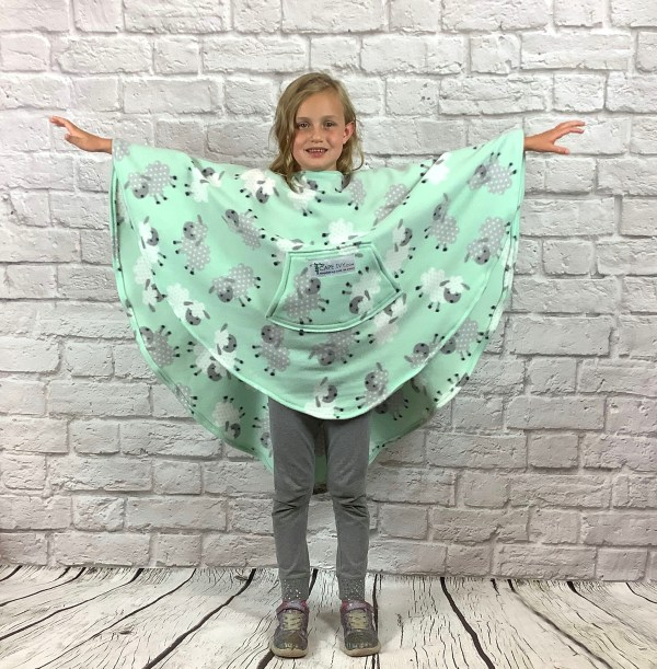 Child Hospital Gift Fleece Poncho Cape Ivy Leaping Lamb Mint