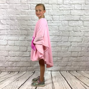 Girl Hospital Gift Fleece Poncho Cape Ivy Pink