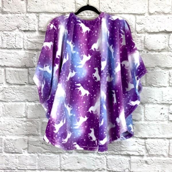 Child Girl Hospital Gift Fleece Poncho Cape Ivy Purple Unicorn