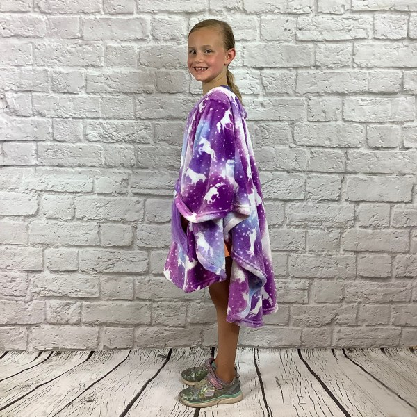 Child Hospital Gifts Fleece Poncho Cape Ivy Purple Unicorns