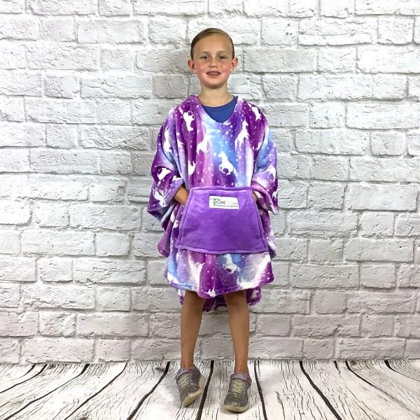 Child Hospital Gift Fleece Poncho Cape Ivy Purple Unicorns