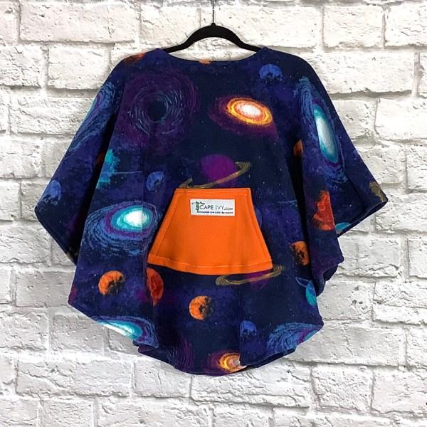 Child Hospital Gift Fleece Poncho Cape Ivy Solar System Blue
