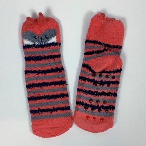 Child Small Adult fluffy non-slip gripper socks Cape Ivy Orange Foxes